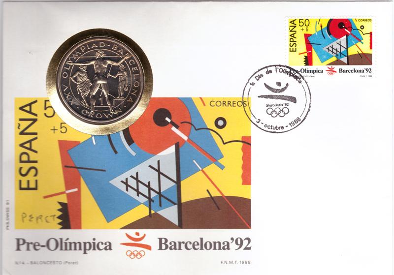 1 крона. XXV Летние Олимпийские игры в Барселоне - Метание копья. Гибралтар. Медноникель. 1991 г. UNC. В конверте