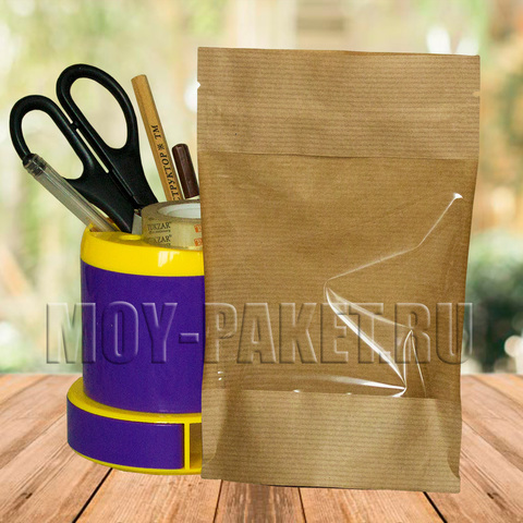 Крафт пакет дой-пак с замком зип-лок и большим окошком 120x185 мм