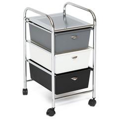 Столик c 3 ящиками для хранения NY-3296-3 металл/пластик, хром, черный/белый