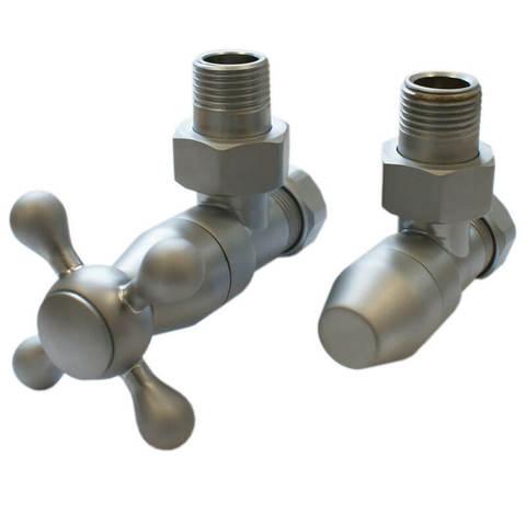 Комплект клапанов с ручной регулировкой Форма угловая Сатин. Для меди GZ 1/2 х 15х1