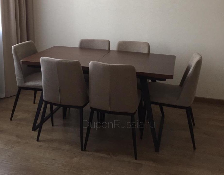 Стол ESF DT-93 орех и стулья ESF Y249 Бежевые