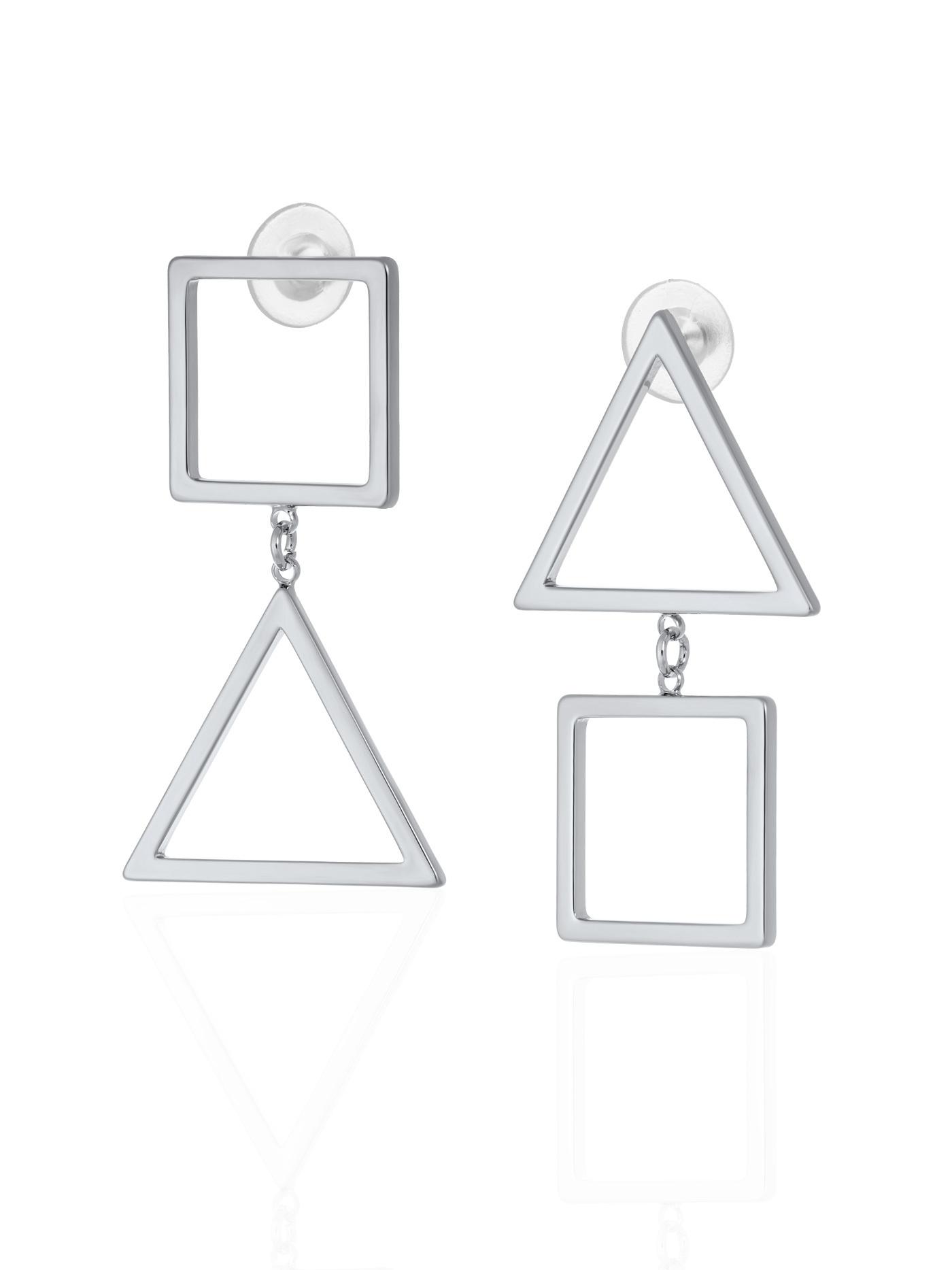 Длинные асимметричные геометрические серьги с подвесками в подарочной коробке