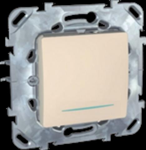 Выключатель кнопочный одноклавишный с подсветкой - Кнопка звонка - Выключатель без фиксации с подсветкой . Цвет Бежевый. Schneider electric Unica. MGU5.206.25NZD