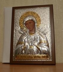 Серебряная с золочением икона Божией Матери Семистрельной 21х15см