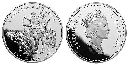 1 доллар. 300 лет путешествию Генри Келси. Канада. 1990 г. PROOF Серебро
