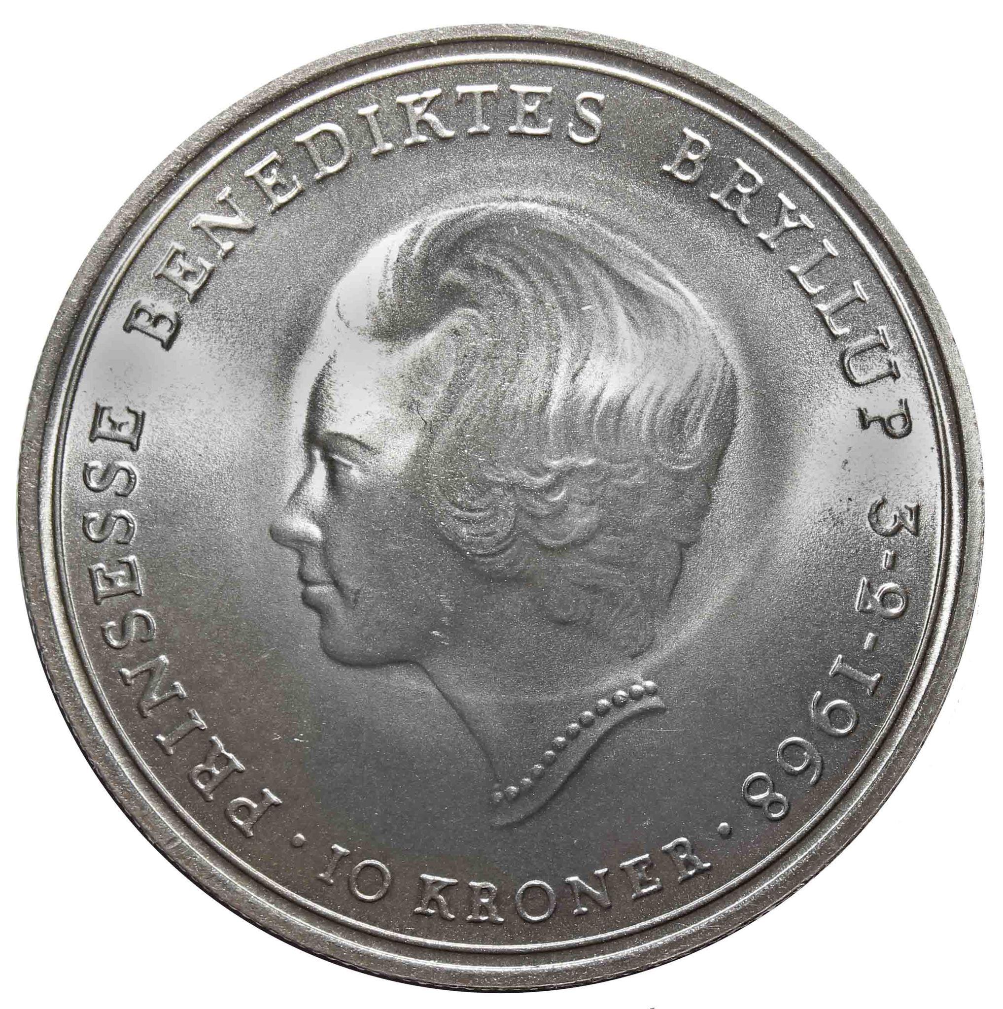10 крон. Свадьба Принцессы Бенедикты. Дания. 1968. Серебро. UNC