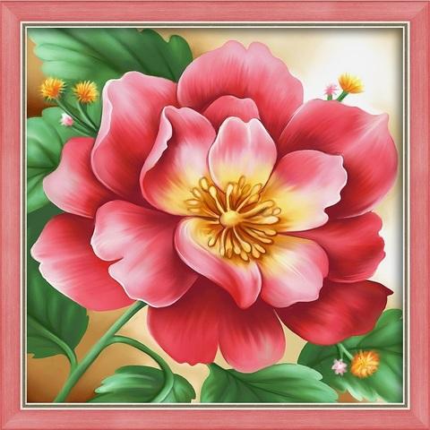 Алмазная Мозаика 30x30 Розовый цветок (арт. AC947 )