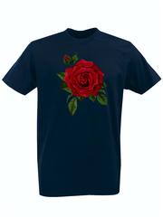 Футболка с принтом Цветы (Розы) темно-синяя 001