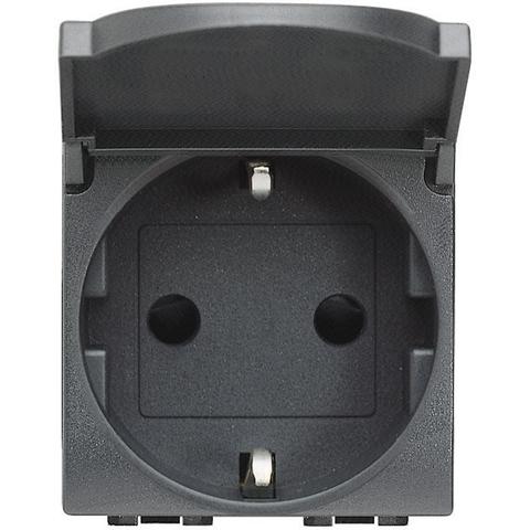 Розетка 10/16 А 250 В заземляющими контактами Schuko, с защитной крышкой с винтовыми зажимами, 2 модуля. Цвет Антрацит. Bticino Livinglight. L4141PW