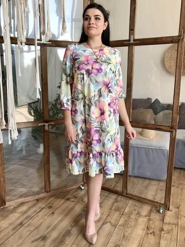 Дорі. Легке молодіжне весняне плаття з воланом. Бузок