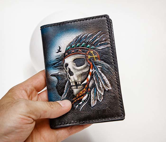 BC226 Обложка на паспорт ручной работы с черепом индейца фото 09