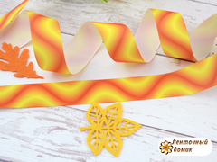 Лента репсовая Волны желто-оранжевые 25 мм