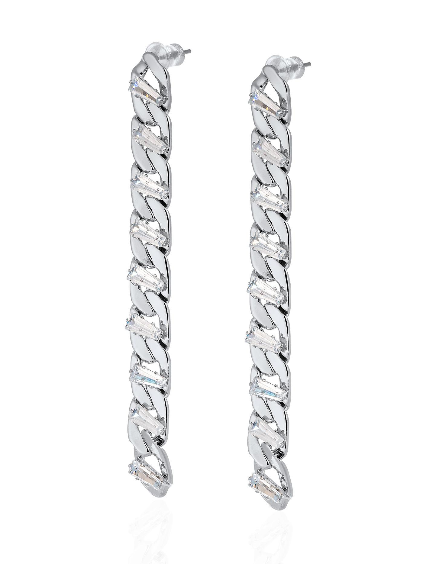 Длинные вечерние серьги-цепи с кристаллами