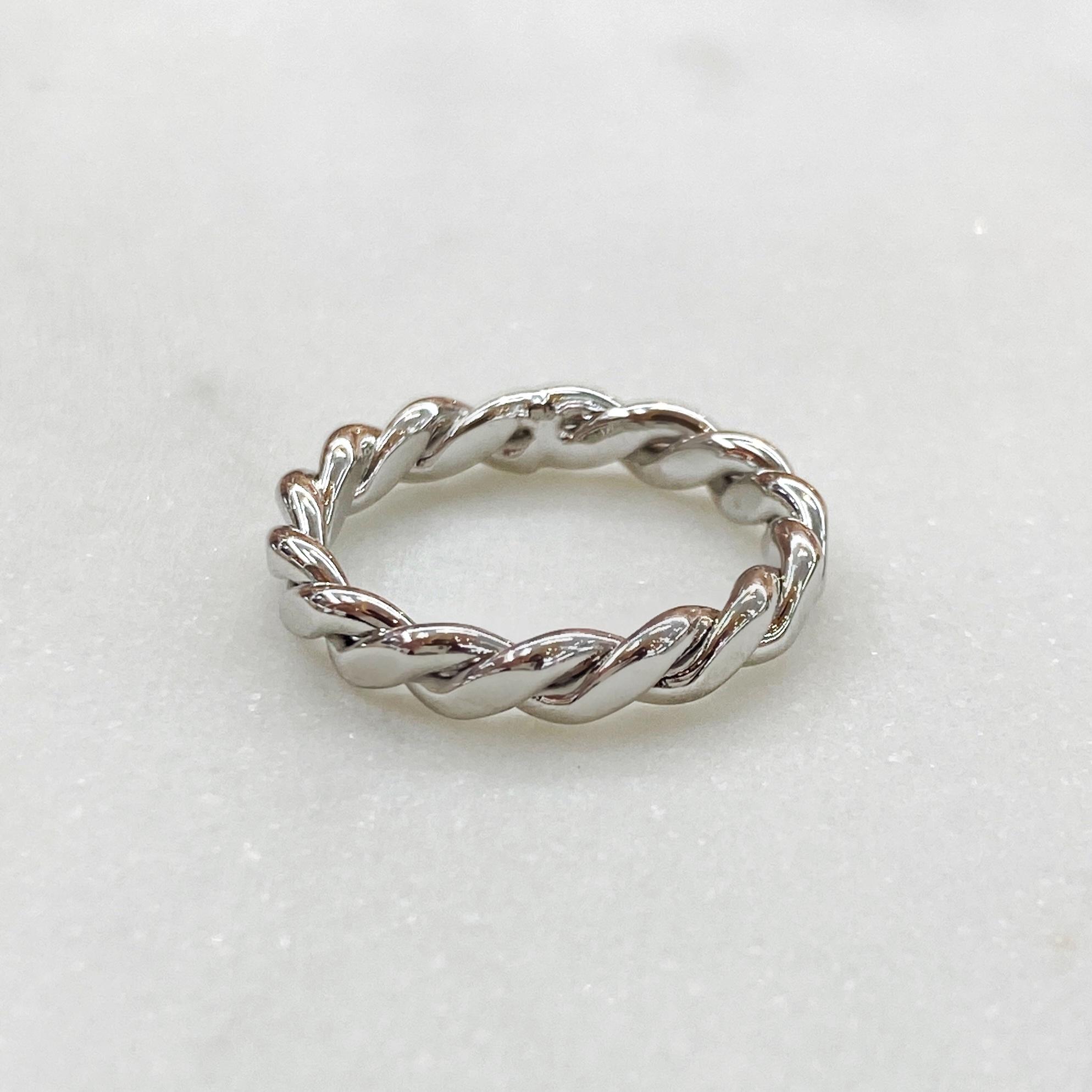 Кольцо веревочного плетения (серебристый)