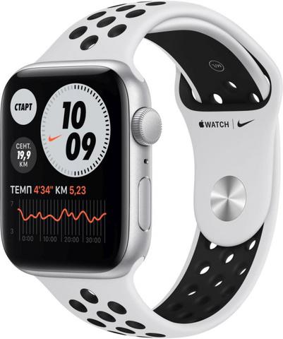 Умные часы Apple Watch Nike SE, 44 мм, корпус из алюминия серебристого цвета, спортивный ремешок Nike