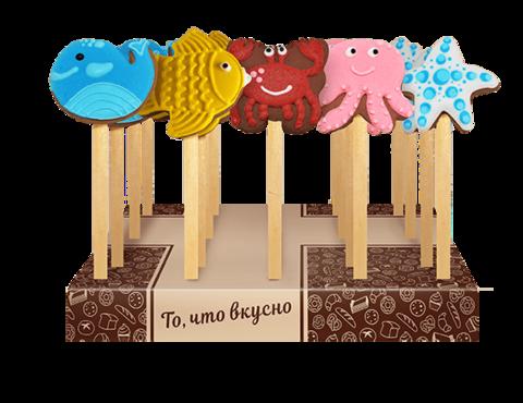 Мини-печенье шоколадное на палочке