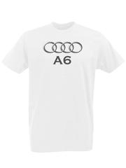 Футболка с принтом Ауди A6 (Audi A6) белая 0003