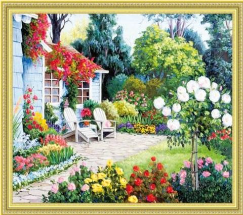 Алмазная Мозаика 50x65 Сад у дома