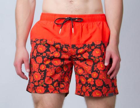 """Swim shorts """"Bright red khokhloma"""""""