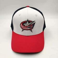 Кепка с логотипом НХЛ Коламбус Блю Джекетс  (Бейсболка NHL Columbus Blue Jackets) синяя/ белая 001