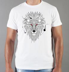 Футболка с принтом Лев (Lion) белая 0048