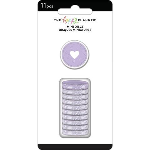 Диски- крепежный механизм для ежедневника Happy Planner Mini Discs -by Me & My Big Ideas - Grape Glitter -2.5см/11 шт