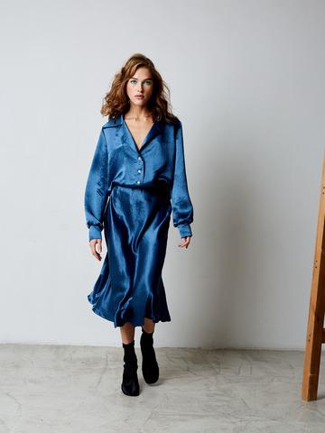 Блуза из вискозы синий