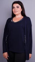 Дона. Жакет+блуза для жінок великих розмірів. Синій.