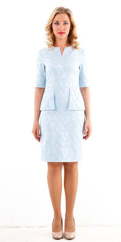Фото голубое платье-костюм из хлопка с короткими рукавами - Платье З208б-368 (1)