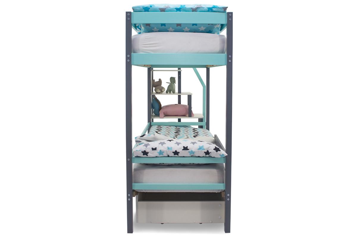 Двухъярусная кровать «Svogen» графит-мятный