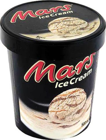 """Мороженое """"Mars"""" сливочное с карамелью и прослойкой из шоколадной глазури 300мл ведерко"""
