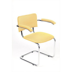 Конференц-стул Silwia Arm песочно-бежевый (искусственная кожа/металл хромированный)