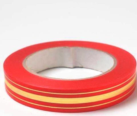 Лента золотая полоса BL (размер: 2 см х 50 ярдов) Цвет: красный