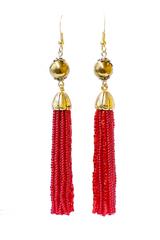 Серьги бисерные красные длинные из 18 нитей