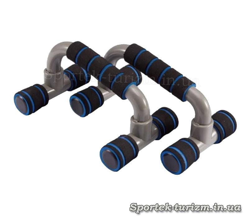 Стойки для отжиманий пластмассовые с наклоном и неопреновыми ручками черно-синие