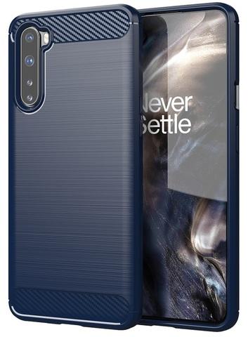 Чехол темно синего цвета для OnePlus Nord, серии Carbon (карбон дизайн) от Caseport