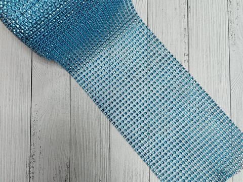 Стразы на тканевой основе, голубой, размер 11.5см *100см