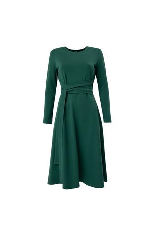 Платье из джерси  А-силуэта с фантизийным поясом