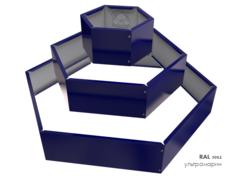 Клумба многоугольная оцинкованная Альпийская горка 3 яруса RAL 5002 Ультрамарин