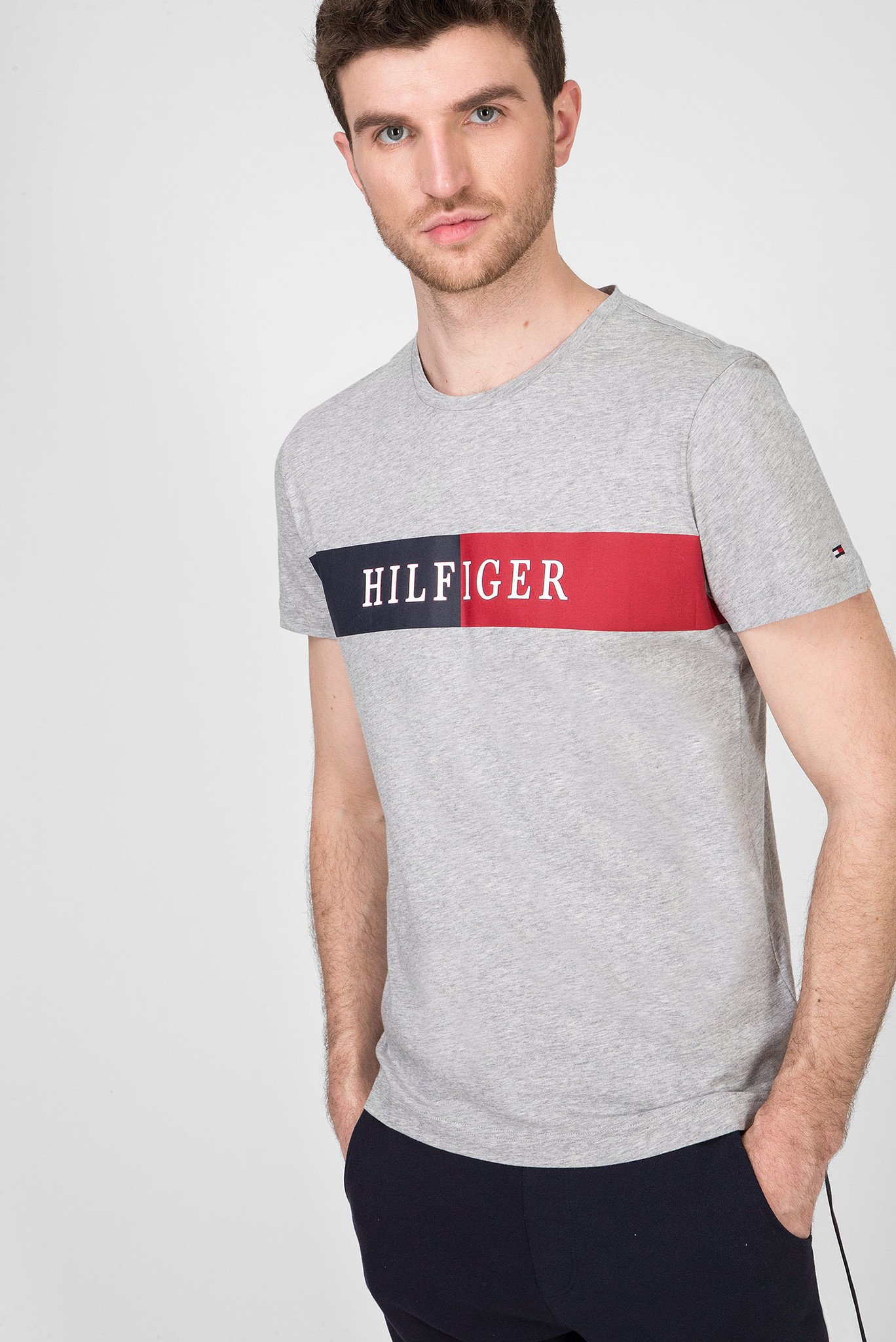 Мужская серая футболка BLOCK STRIPE Tommy Hilfiger