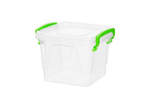Контейнер для хранения Fresh Box 0,55 литра квадратный с крышкой прозрачный/салатовый Эльфпласт 12х9х10,7 см