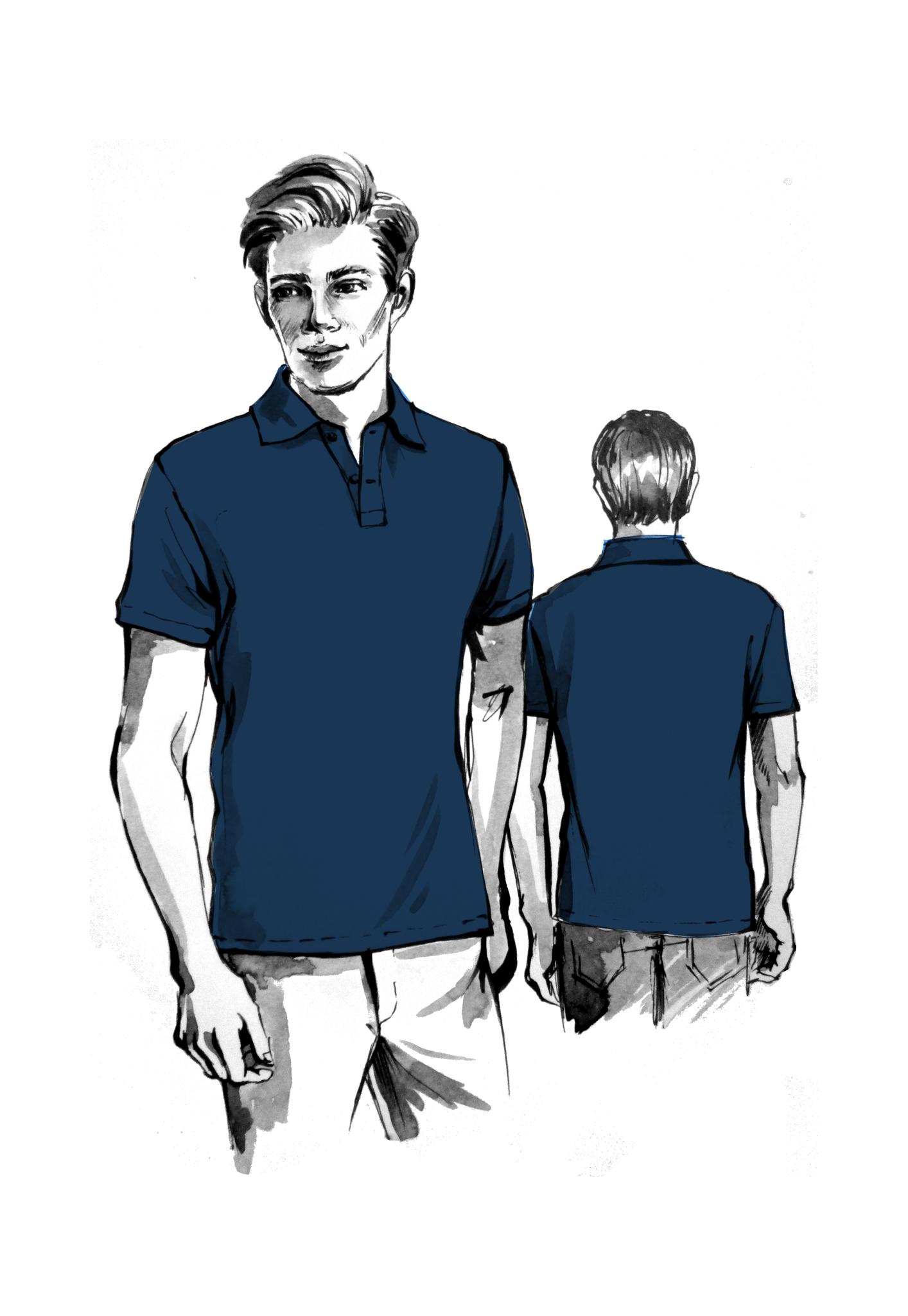 Выкройка мужской футболки поло