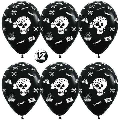 Воздушный шар (12''/30 см) Пираты, Черный (080), пастель