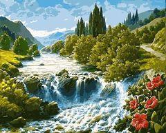 Картина раскраска по номерам 30x40 Водопад среди зелени