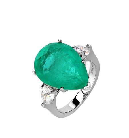 47442- Кольцо из серебра с изумрудным кварцем огранки кушон
