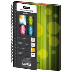 Бизнес-тетрадь Mariner Be Happy А4 120 листов зеленая в клетку 3 разделителя на спирали (200х274 мм)