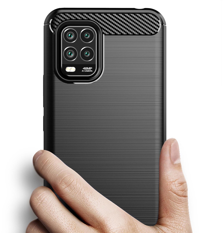 Чехол черного цвета для Xiaomi Mi 10 Lite, серии Carbon от Caseport