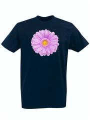Футболка с принтом Цветы (Герберы) темно-синяя 001