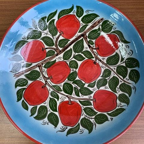 Ляган ручная роспись яблоки 42 см