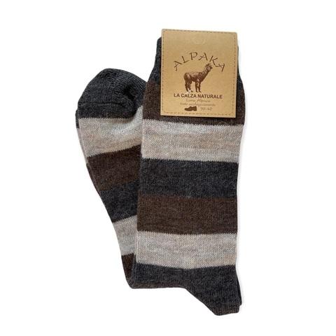 Носки мужские 100% шерсть, бежево-коричневая полоска, Италия